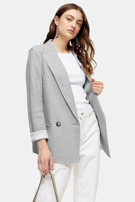 Topshop Womens Raw Edge Jersey Double Breasted Blazer - Blue
