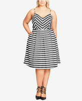 City Chic Trendy Plus Size Striped Fit & Flare Dress