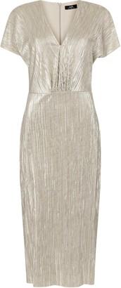 Wallis Silver Metallic Textured Midi Dress