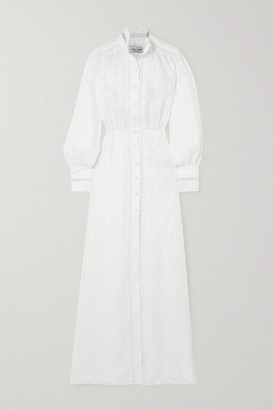 Raquel Diniz Marella Crochet-trimmed Linen Maxi Dress - Off-white