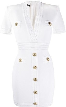 Balmain Embossed Buttons Fitted Dress