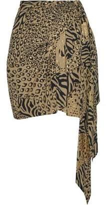 Dundas Wrap-effect Metallic Printed Crepe Mini Skirt