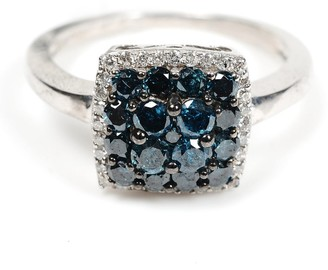Artisan Natural Diamond Pave Square Shape Engagement Ring Sterling Silver Jewelry Black Friday Sale