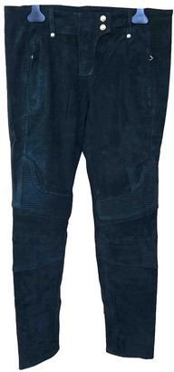 Balmain For H&m Green Leather Trousers