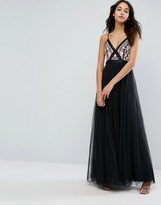 Needle & Thread Prarie Embroidery Tulle Maxi Dress