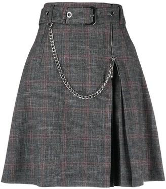 Alberta Ferretti Belted Plaid-Check Mini Skirt