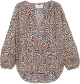 The Great Carousel Floral-print Silk-crepe Blouse - Beige