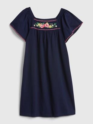 Gap Kids Floral Embroidered Dress