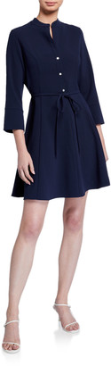 Solid Crepe Fit-and-Flare Dress with Tie