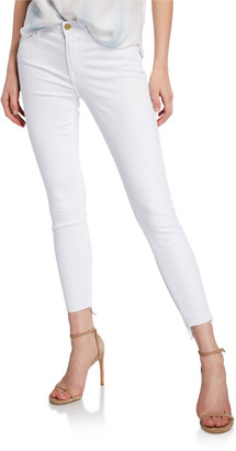 Frame Le Skinny De Jeanne Mid-Rise Raw Stagger-Hem Jeans