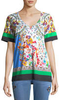 Etro Paisley V-Neck T-Shirt