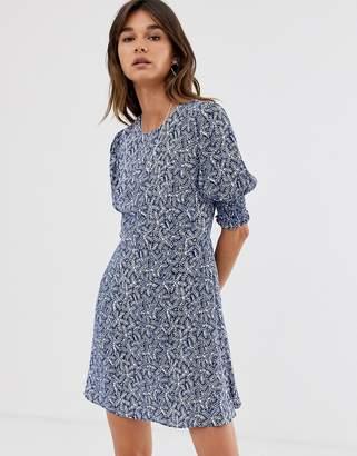 Whistles josefina etch print mini dress-Navy