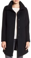 Kristen Blake Petite Women's Funnel Neck Wool Blend Coat
