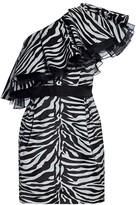 Prabal Gurung Zebra Print One-Shoulder Mini Dress