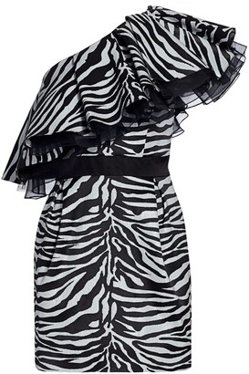 Prabal Gurung Zebra Print One-Shoulder Mini Dress