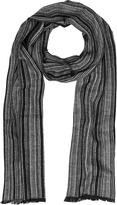 Mila Schon Black & Gray Stripe Wooden Fiber Fringed Long Scarf