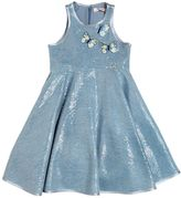 Miss Blumarine Sequined Chambray Dress W/ Butterflies