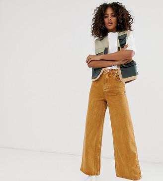 Asos Tall DESIGN Tall premium wide leg jeans in mustard