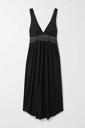 Eberjey Antoinette Uptown Lace-paneled Stretch-modal Nightdress - Black