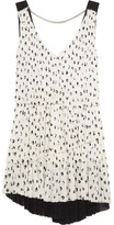 Sonia Rykiel Pleated Printed Crepe Mini Dress - White