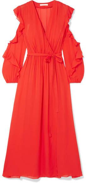Maje Ruffled Wrap-effect Chiffon Midi Dress - Red