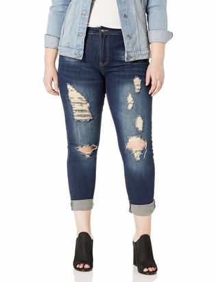 Cover Girl Women's Ripped Torn Distressed Repaired Patched Slim Fray Skinny