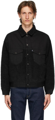 Levis Made and Crafted Black Sherpa Oversized Trucker Jacket