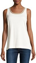 Joan Vass Sleeveless Beaded-Neck Tank