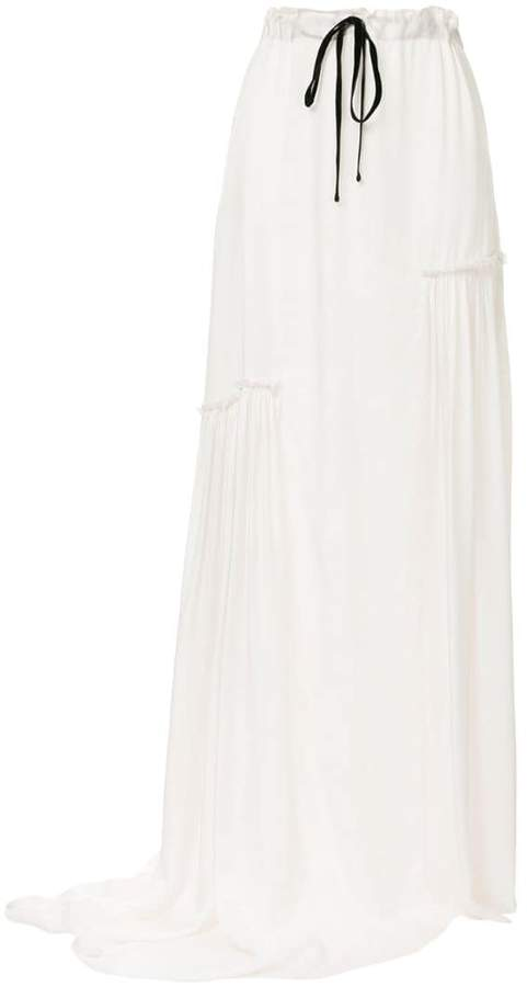 asymmetric ruched long skirt