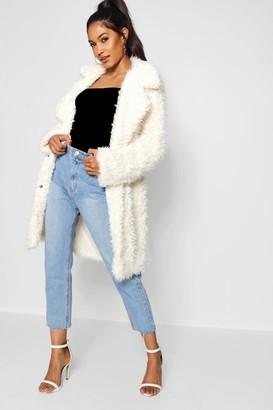 boohoo Shaggy Faux Fur Look Coat
