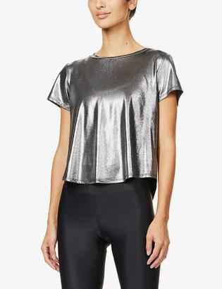 Heroine Sport Mercury metallic stretch-jersey T-shirt