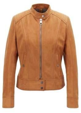 BOSS Jersey-lined biker jacket in lamb nubuck