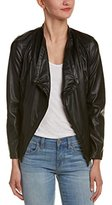 Jack by BB Dakota Women's Carnation Suede Backed Drape Front Faux Leather Jacket