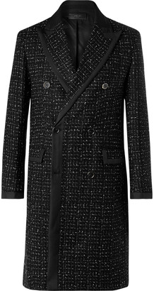 Amiri Double-Breasted Silk Twill-Trimmed Boucle Coat
