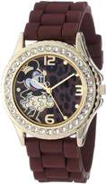 Disney Women's MN1054 Rhinestone Accent Minnie Mouse Brown Rubber Strap Watch