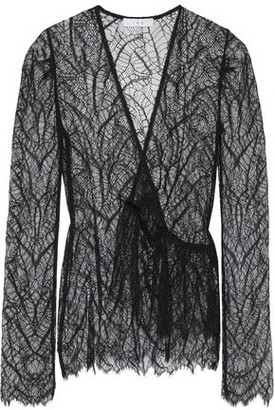 IRO Wane Wrap-effect Ruffled Chantilly Lace Top