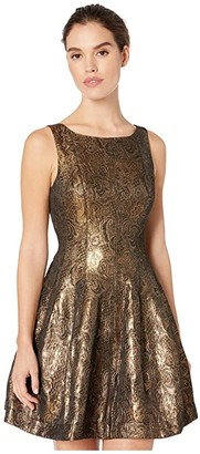 Halston Fit and Flare Metallic Jacquard Dress (Antique Gold) Women's Dress