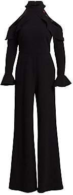 ML Monique Lhuillier Women's Cold-Shoulder Long-Sleeve Ruffle Jumpsuit