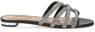 Aquazzura Moondust Crystal-Embellished Leather Flat Sandals