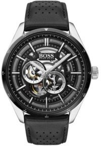 HUGO BOSS Skeleton-dial watch with perforated leather strap