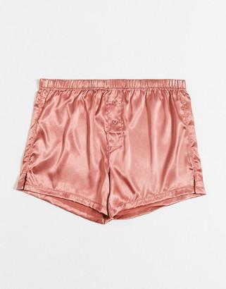 ASOS DESIGN woven satin boxer short in light pink