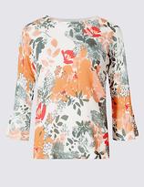Per Una Floral Print Round Neck 3/4 Sleeve Jumper
