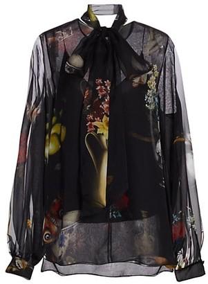 Oscar de la Renta Silk Floral Tieneck Blouse