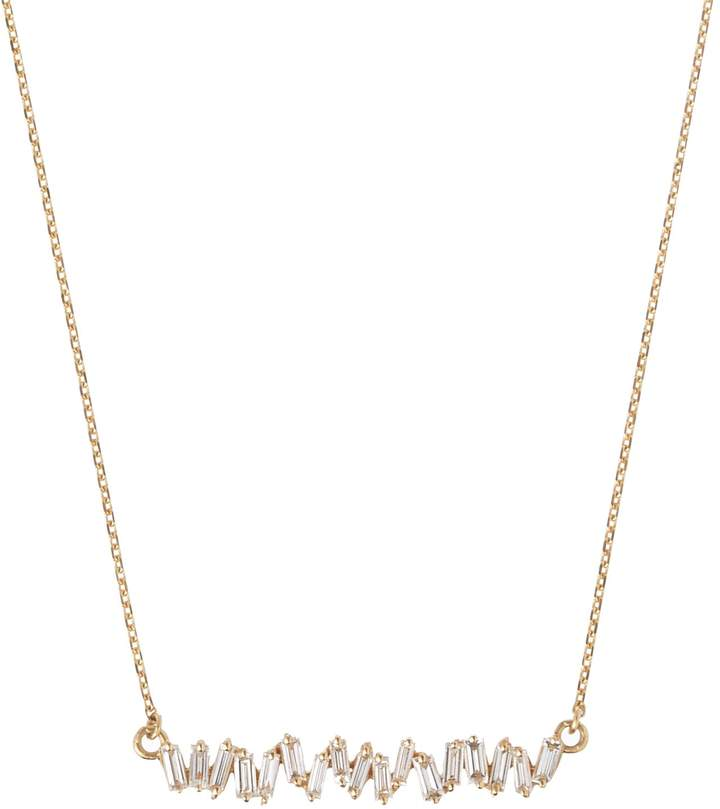Suzanne Kalan Yellow Gold Diamond Baguette Necklace