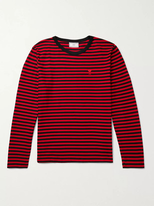 AMI Paris Logo-Appliqued Striped Cotton-Jersey T-Shirt
