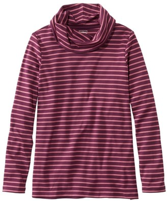 L.L. Bean Women's Pima Cotton Tee, Long-Sleeve Cowlneck Stripe