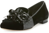 Miu Miu Ruched-Patent Velvet Loafer, Black