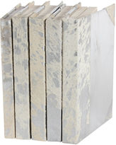 One Kings Lane S/5 Metallic Hide Books, White/Silver