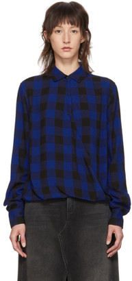 Rag & Bone Blue and Black Camille Cross Blouse