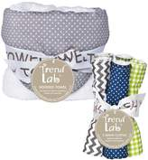 Trend Lab Perfectly Navy Gray Dot Hooded Towel and Wash Cloth Bouquet Set